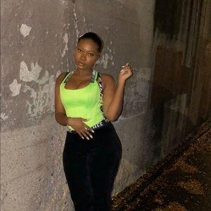 I AM GIA Neon Green Siobhan corset.